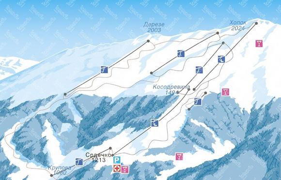 Ясна Низкие Татры (Хопок (Юг)), схема трасс